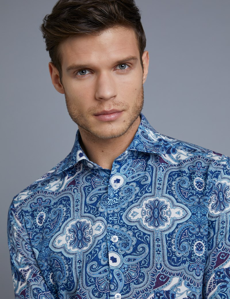 Men's Curtis Blue Paisley Slim Fit Shirt - Single Cuff