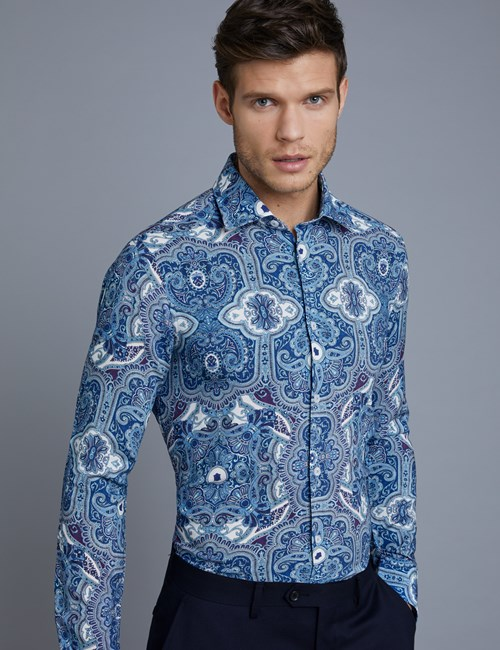 Men's Curtis Blue Paisley Slim Fit Shirt - Single Cuff
