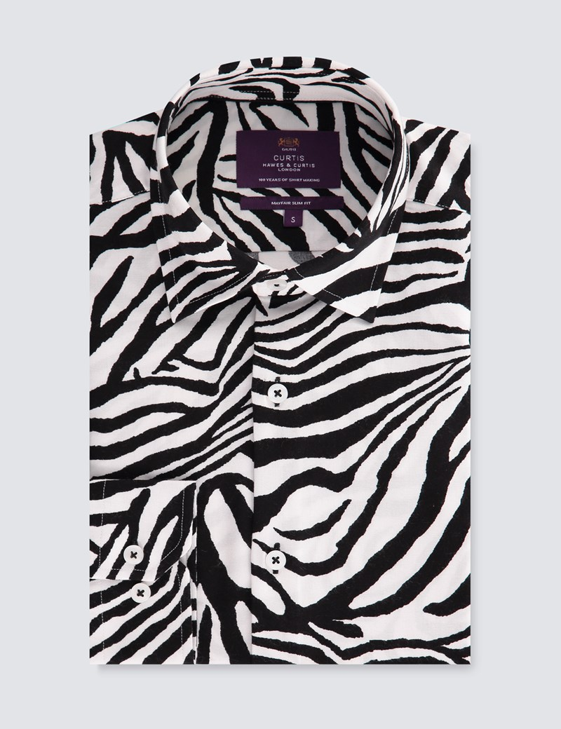 Men's Curtis Black & White Zebra Print Slim Fit Shirt - Single Cuff