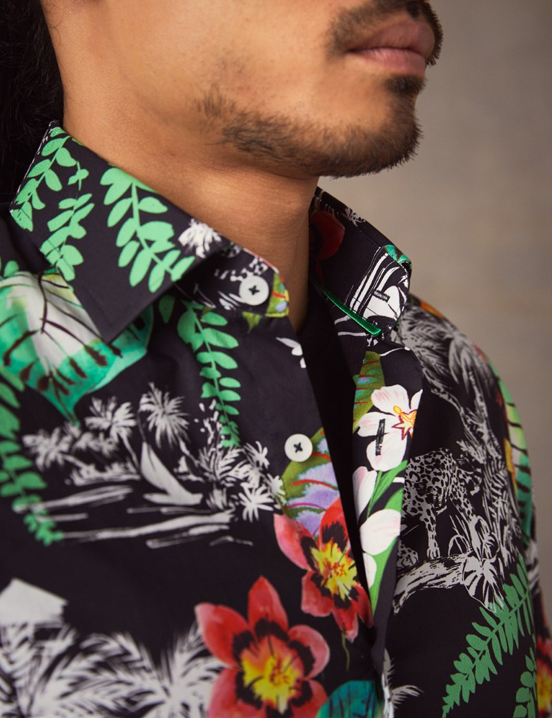 Men's Curtis Black & Green Hawaiian Leopard Print Slim Fit Shirt - Short Sleeve