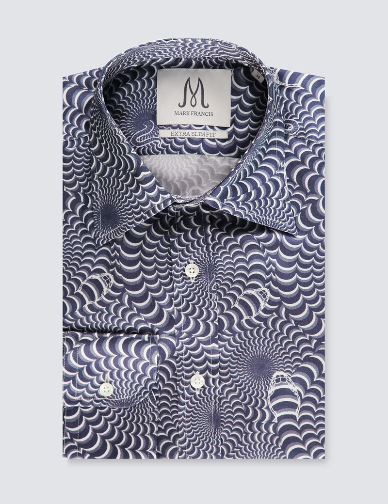 Men's Black & Grey Swirl Print Extra Slim Fit Shirt – Curved Pointed Collar - Single Cuff