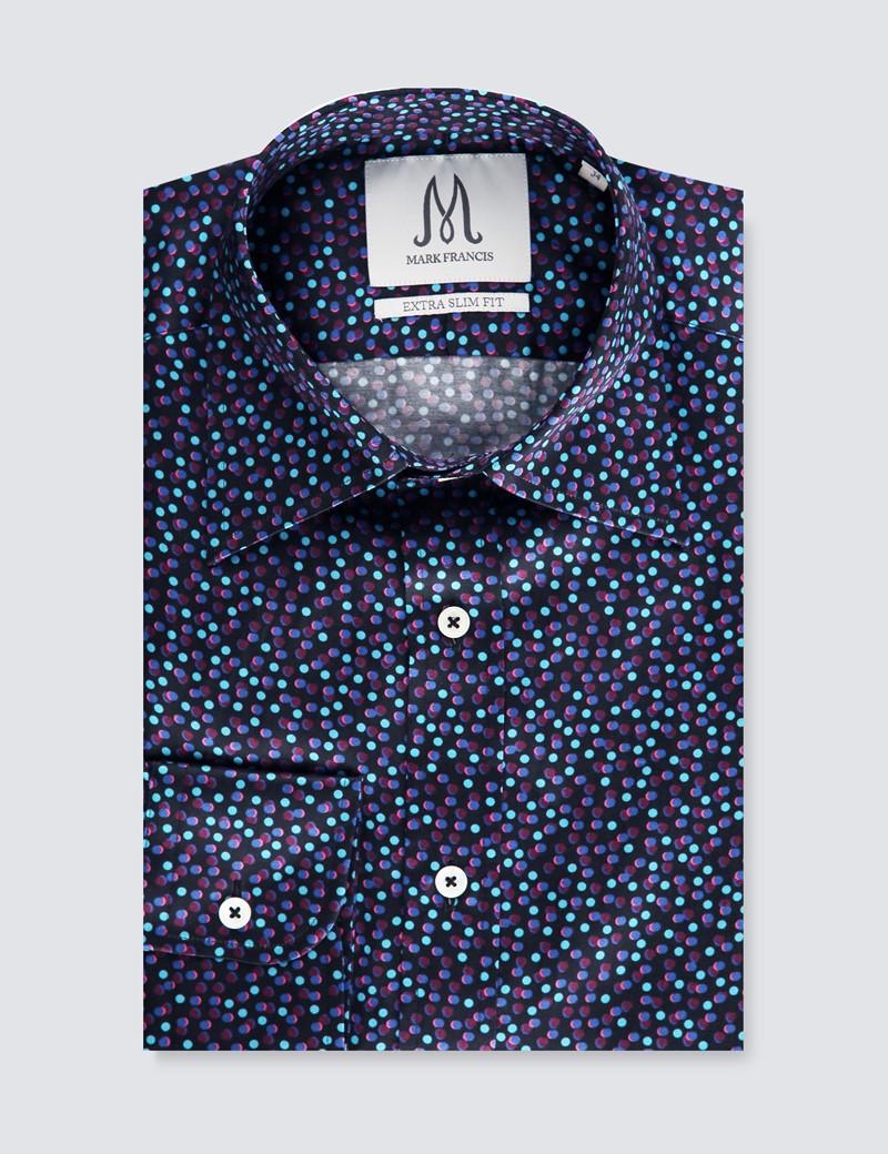 Men's Black & Blue Spot Print Extra Slim Fit Shirt – Curved Point Collar - Single Cuff