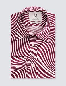 Men's Wine & Cream Wave Print Extra Slim Fit Shirt – Curved Point Collar - Single Cuff