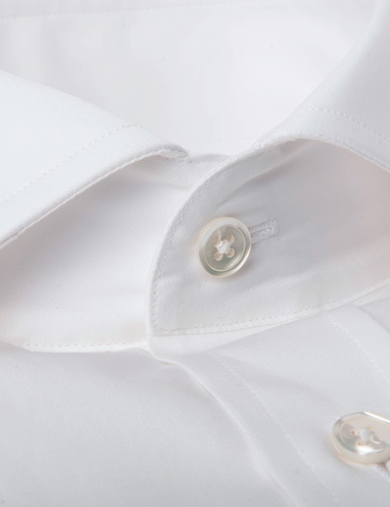 Men's Formal White Twill Extra Slim Fit Shirt - Cutaway Collar - Double Cuff