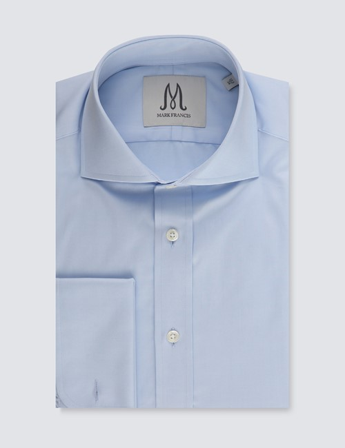 Men's Formal Blue Basket Fine Twill Extra Slim Fit Shirt - Cutaway Collar - Double Cuff