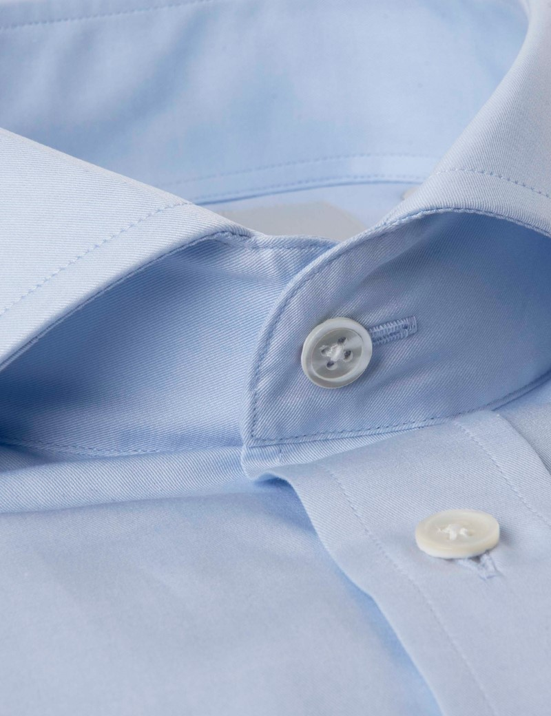 Men's Formal Blue Basket Fine Twill Extra Slim Fit Shirt - Cutaway Collar - Double Cuff