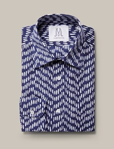 Men's Formal Navy & White Extra Slim Fit Shirt - Single Cuff