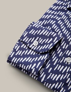 Men's Navy & White Printed Relaxed Fit Shirt - Single Cuffs - Mark Francis Collection