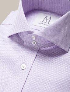 Men's Formal Lilac Basket Weave Extra Slim Fit Shirt - Double Button Collar - Single Cuff