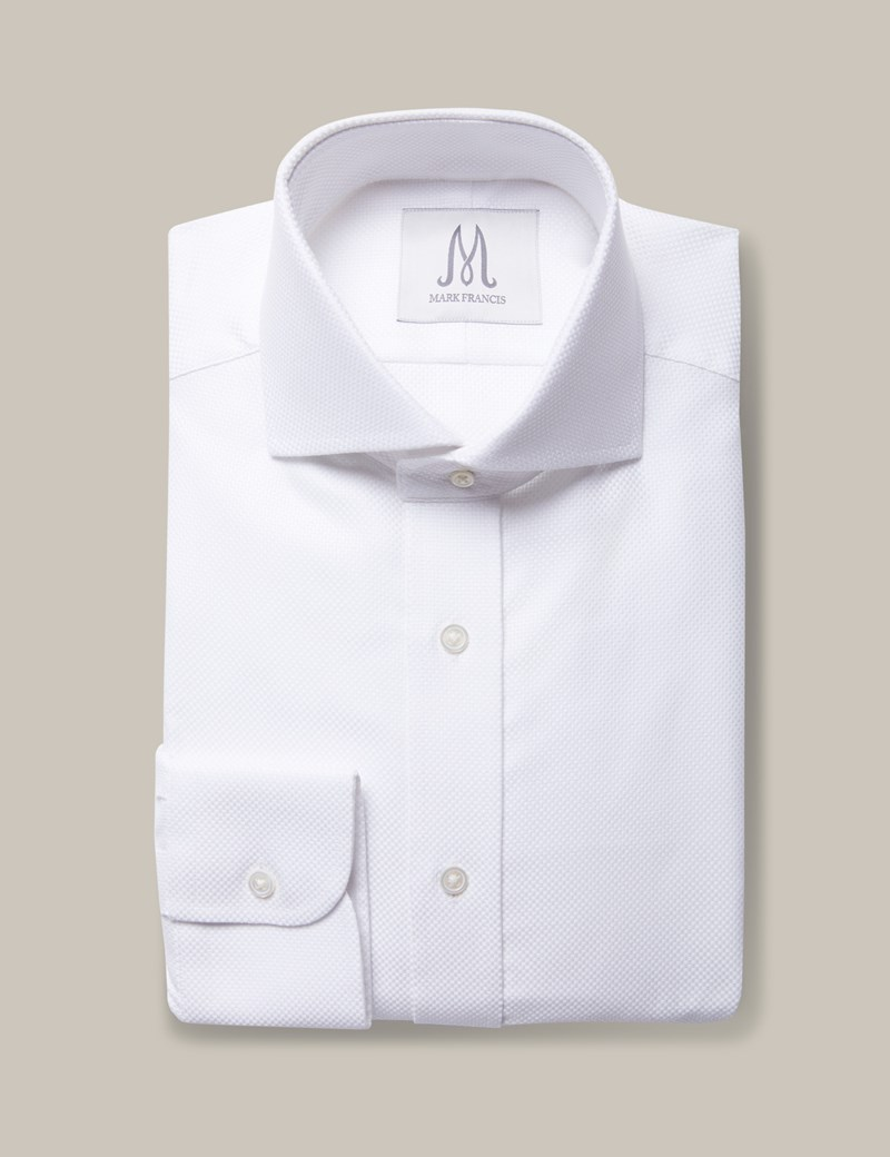 Men's Formal White Pique Extra Slim Fit Shirt - Double Button Collar - Single Cuff