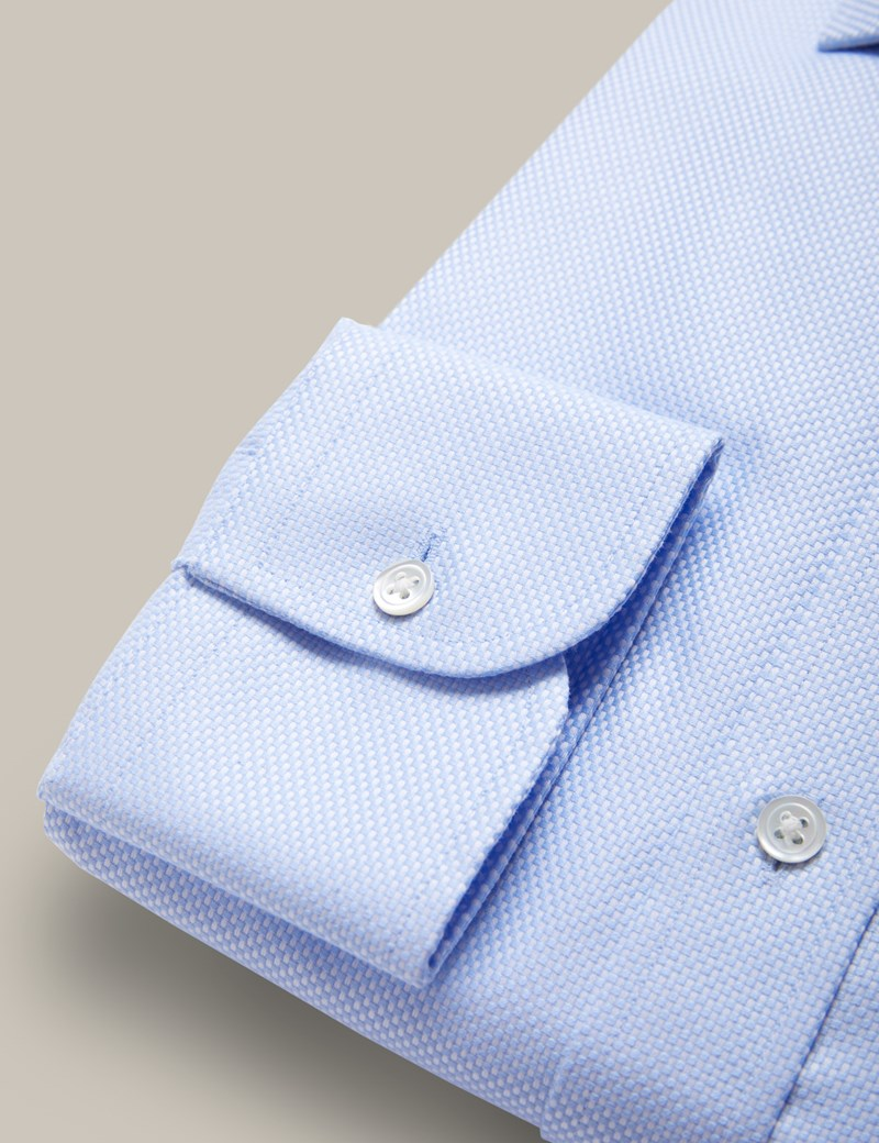 Men's Formal Blue Pique Extra Slim Fit Shirt - Double Button Collar - Single Cuff