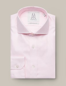 Men's Formal Pink Dobby Extra Slim Fit Shirt - Double Button Cutaway Collar - Single Cuff