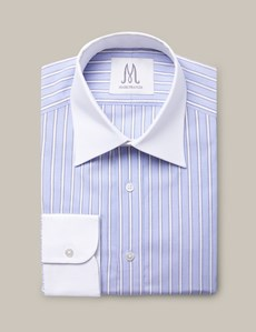 Men's Blue, Brown & White Textured Stripe Extra Slim Fit Shirt - Single Cuffs - Mark Francis Collection