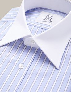 Men's Formal Blue, Brown & White Textured Stripe Extra Slim Fit Shirt - Single Cuff