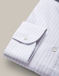 Men's Grey & White Textured Butcher Stripe Extra Slim Fit Shirt - Single Cuffs - Cutaway Collar - Mark Francis Collection