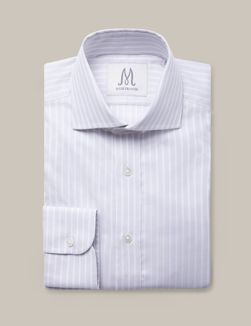 Men's Formal Grey & White Textured Butcher Stripe Extra Slim Fit Shirt - Cutaway Collar - Single Cuff