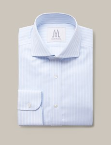 Men's Formal Blue & White Textured Butcher Stripe Extra Slim Fit Shirt - Cutaway Collar - Single Cuff