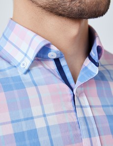 Men's Blue & Pink Check Washed Cotton Relaxed Slim Fit Shirt – Button Down Collar