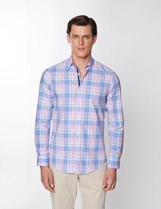 Casualhemd – Relaxed Slim Fit – Button-Down Kragen – Washed Cotton – blau pink Karo