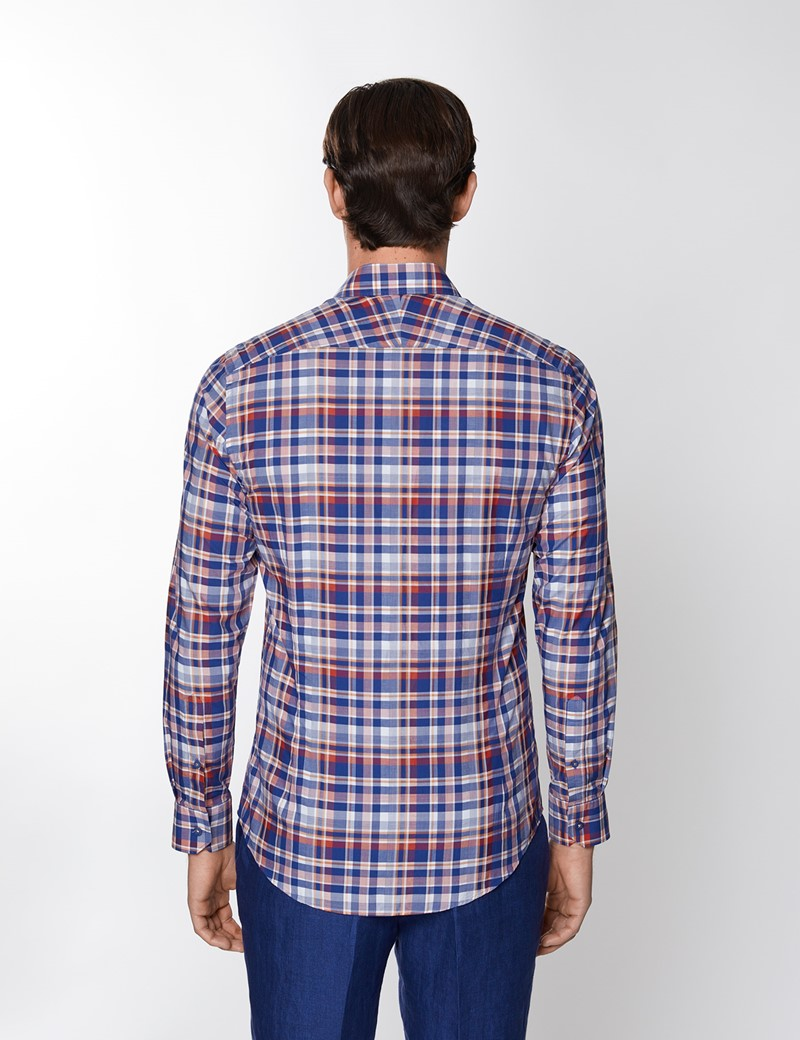 Men's Navy & Red Multi Check Washed Cotton Relaxed Slim Fit Shirt – Button Down Collar
