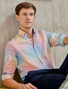 Men's Pink & Orange Small Check Washed Cotton Relaxed Slim Fit Shirt – Button Down Collar