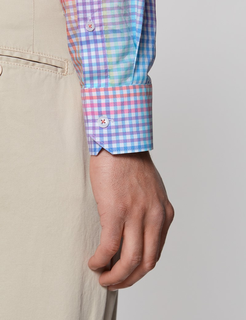 Casualhemd – Relaxed Slim Fit – Button-Down Kragen – Washed Cotton – pink orange Karo