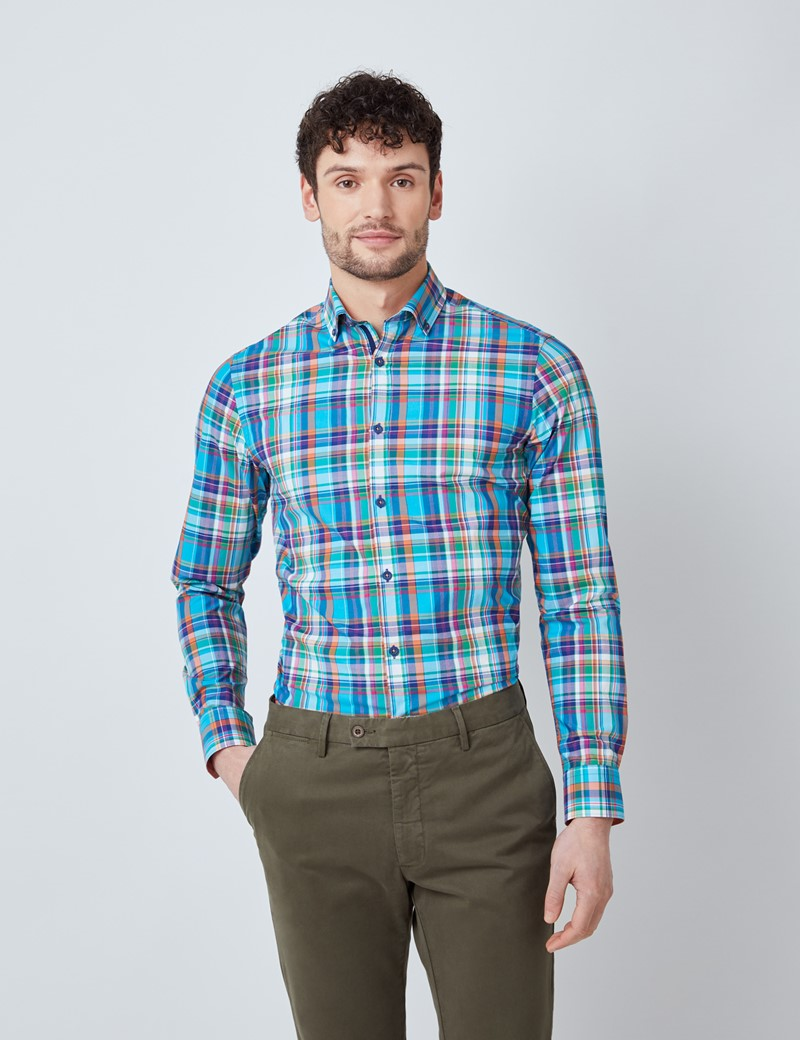 Men's Green & Orange Multi Check Washed Cotton Relaxed Slim Fit Shirt – Button Down Collar