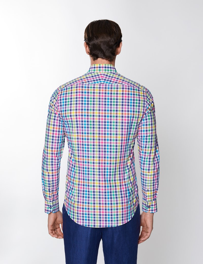 Men's Navy & Yellow Multi Check Washed Cotton Relaxed Slim Fit Shirt – Button Down Collar