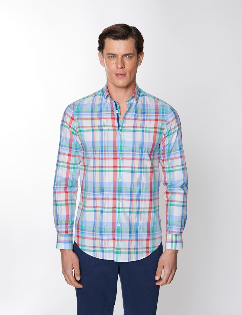 Men's Blue & Green Check Washed Cotton Relaxed Slim Fit Shirt – Button Down Collar
