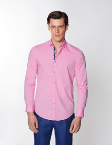 Men's Pink Plain Washed Cotton Relaxed Slim Fit Shirt – Button Down Collar