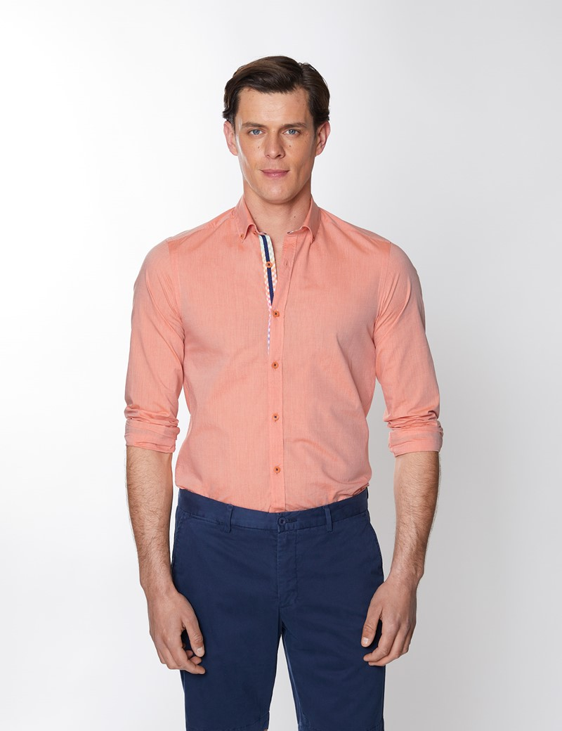 Men's Orange Plain Washed Cotton Relaxed Slim Fit Shirt – Button Down Collar