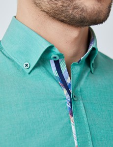Men's Green Plain Washed Cotton Relaxed Slim Fit Shirt – Button Down Collar