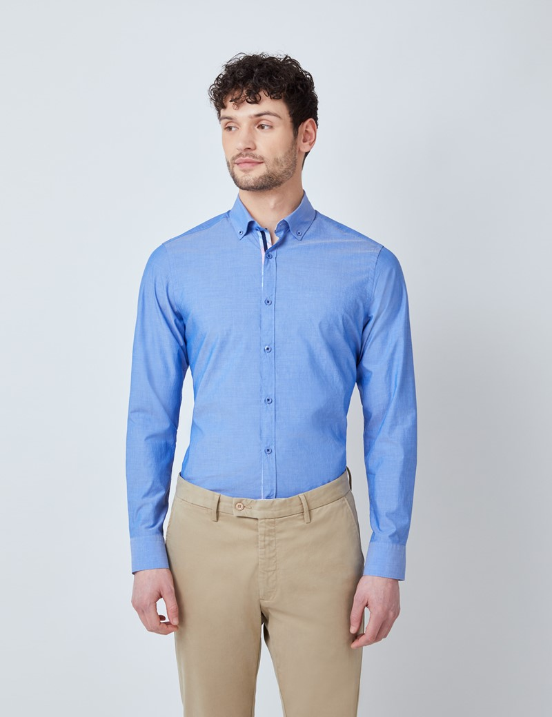 Men's Blue Plain Washed Cotton Relaxed Slim Fit Shirt – Button Down Collar