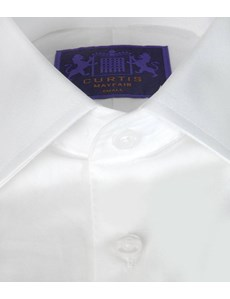 Men's Plain White Poplin Slim Fitted Cotton Shirt - Rounded Cuff