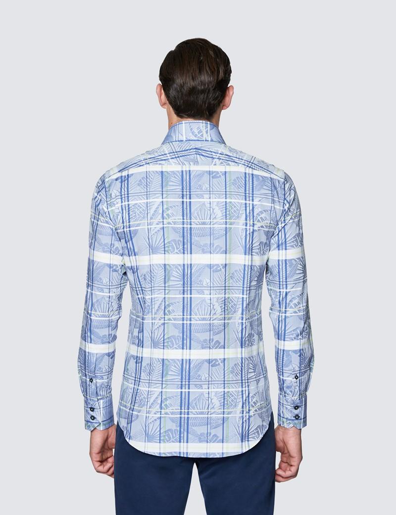 Men's Curtis Blue Check Cotton Shirt - High Collar