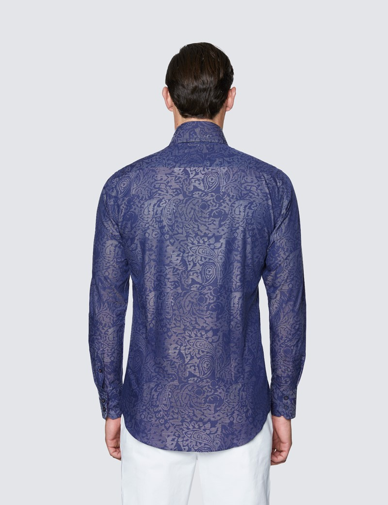 Men's Curtis Navy Paisely Dobby Cotton Shirt - High Collar