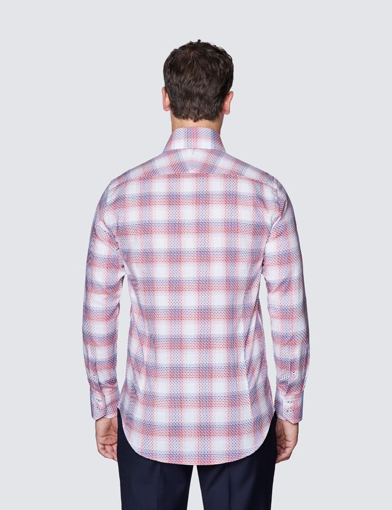 Men's Curtis Red & White York Dobby Check Cotton Shirt - High Collar