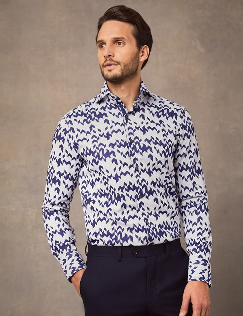 Men's Curtis Navy Chevron Jacquard Slim Fit Shirt With Contrast Detail - High Collar - Single Cuff