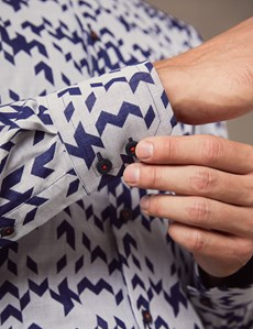 Men's Curtis Navy Chevron Jacquard Slim Fit Shirt With Contrast Detail - High Collar - Single Cuff