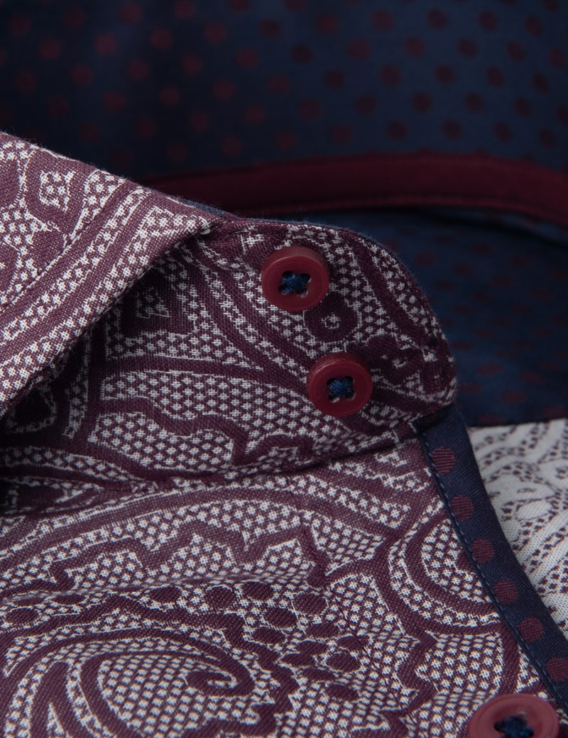 Men's Curtis Burgundy Paisley Slim Fit Shirt - High Collar - Single Cuff