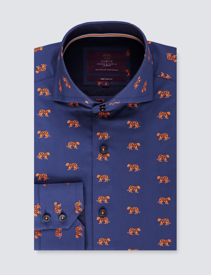Men's Curtis Blue & Orange Dobby Tiger Slim Fit Shirt With Contrast Detail - High Collar - Single Cuff
