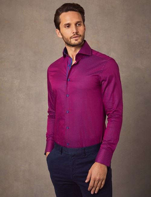 Men's Curtis Purple & Lilac Dobby Diamonds Slim Fit Shirt With Contrast Detail - High Collar - Single Cuff