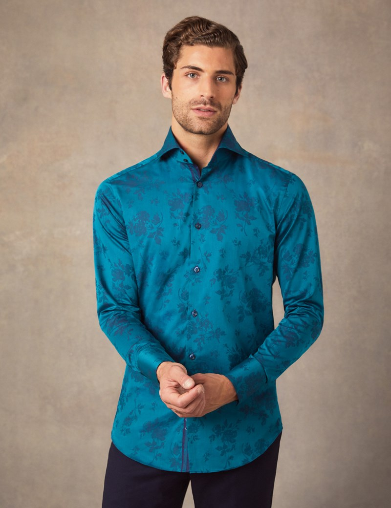 Men's Curtis Turquoise Jacquard Floral Slim Fit Shirt With Contrast Detail - High Collar - Single Cuff