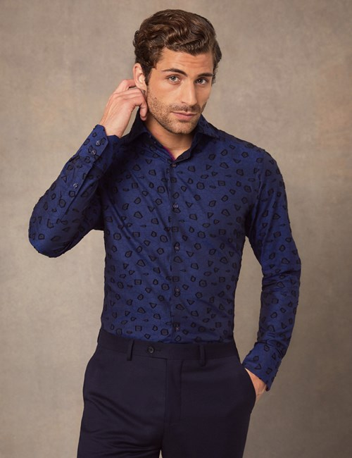 Men's Curtis Dark Blue Textured Jacquard Slim Fit Shirt With Contrast Detail - High Collar - Single Cuff