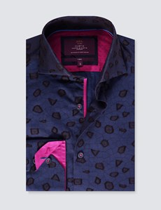 Men's Curtis Dark Blue Textured Jacquard Slim Fit Shirt With Contrast Detail - High Collar - Single Cuff
