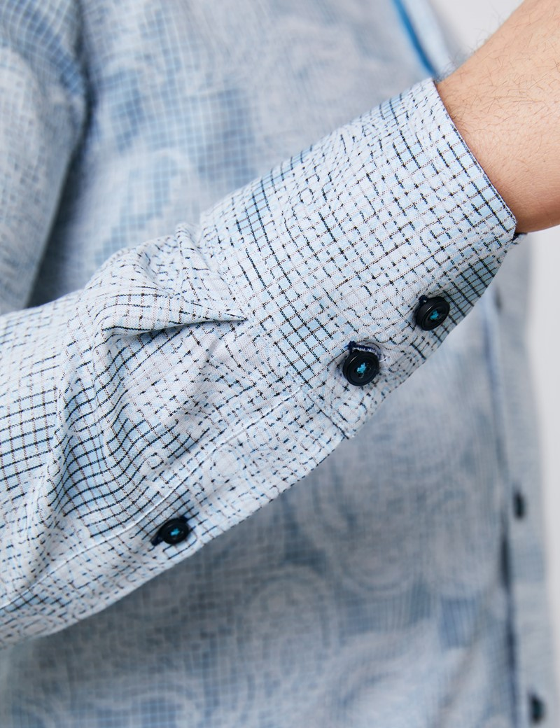Men's Curtis Light Blue & White Jacquard Slim Fit Shirt - High Collar - Single Cuff