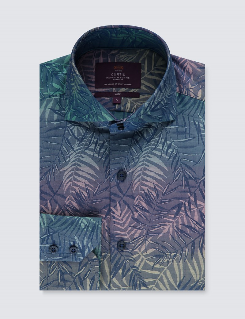 Men's Curtis Blue & Green  Jacquard Leaves Slim Fit Shirt - High Collar - Single Cuff