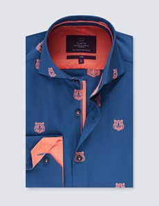 Men's Curtis Navy & Orange Dobby Slim Fit Shirt - High Collar - Single Cuff