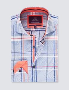Men's Curtis Blue & Navy Dobby Check Slim Fit Shirt - High Collar - Single Cuff