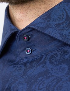 Men's Curtis Navy Jacquard Paisley Relaxed Slim Fit Shirt - High Collar - Single Cuff